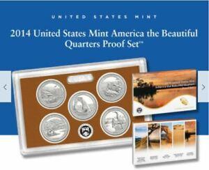 2014 United States Mint America the Beautiful Quarters Silver Proof Set w COA