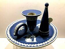 "C.1891 ~ WEDGWOOD JASPERWARE COBALT BLUE ""CHAMBER CANDLESTICK W/SNUFFER"" - RARE"