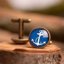Anchor cufflinks blue vintage handmade antique brass men accessories gift