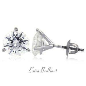2.01 Carat G SI2 Round Cut Natural Certified Diamonds 14k White Gold Earrings