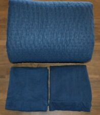 Pottery Barn Pick Stitch Handcrafted Quilt Midnight Blue King Cal King & 2 Shams