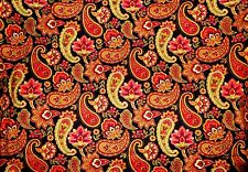 VALANCE CURTAIN FALL AUTUMN PAISLEY FLOWERS RED ORANGE GREEN GOLD on BLACK