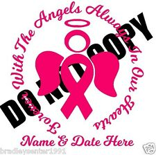 Pink Breast Cancer Awareness Ribbon Decal Car Window Laptop Vinyl Sticker Angel