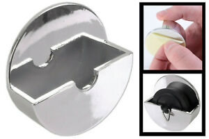 1 Sink Bath Shower Plug holder Tidy Self Adhesive Stick On No Rust Chrome Plated