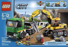LEGO CITY EXCATAVOR TRANSPORT TRASPORTO PESANTE 4203 RARO NUOVO FUORI PRODUZIONE