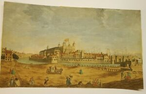 """Circa 1850 Engraving """"A North West View of The Tower of London"""" Hand colored"""