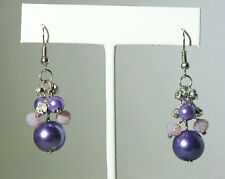 "1.5"" Purple Faux Pearl Bead & Crystal Dangle Silver Plated Earrings Gift"