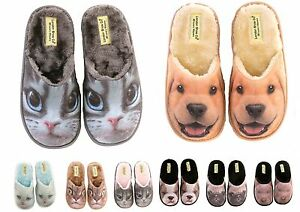 Ladies & Girls 3D Print Novelty Funny Slippers Cats & Dogs - XMAS CHRISTMAS GIFT