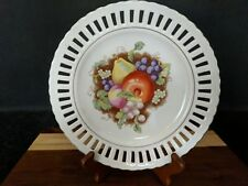 """Vintage Porcelain Reticulated Decorative Plate with Fruits - Measures 8 1/2"""""""