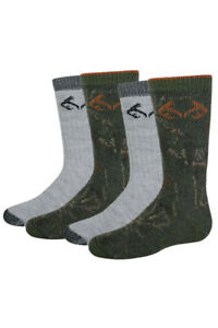 Realtree Boys Youth Outdoor Camouflage Pattern Wool Cushion Boot Crew Socks 4PK