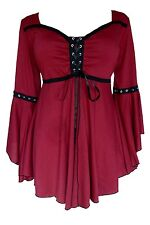 Dare to Wear OPHELIA Gothic Renaissance Corset Top BURGUNDY RED Jr L Large