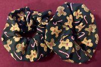 Hair Scrunchies - Christmas Gingerbread Man Print - Handmade