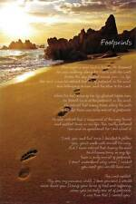 Footprints in the Sand Poem 24x36 Fine Art Print Poster Christian Wall Decor Z88