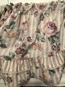 2 JC Penny Shabby And Chic Cottage Floral Valance Rose Pink Beige 84x17
