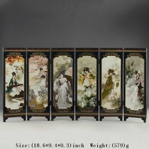 Oriental Chinese Golden Lacquer Folding Room Screen Divider Ancient Beauties