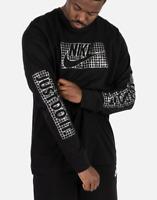 Nike Futura Longsleeve Logo Tee Mens T-Shirt Black Multi Size Casual Sportswear