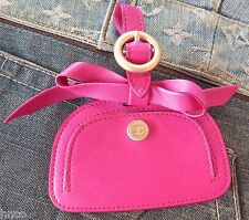 .CHANEL Leather Luggage Tag in Pink