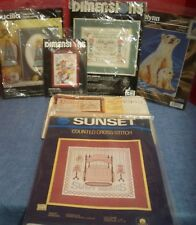 Lot of 6 Counted Cross Stitch Kits Dimensions Sunset Bucilla JanLynn Sealed New