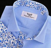Boss Design Blue Paisley 7 Striped Checkered Mens Formal Dress Business Shirt