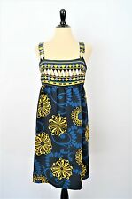 BCBG Max Azria Navy Blue Yellow Flowing Mod Floral Empire Tank Party Sun DRESS M