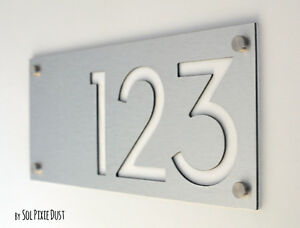 Modern House Numbers, Alucobond with White Acrylic - Door Number - Sign Plaque