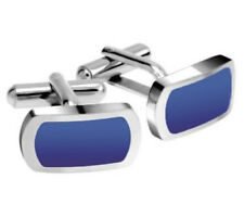 Gemelos color principal azul de acero inoxidable para hombre