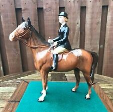 EARLY BESWICK HUNTSWOMAN ON BROWN HORSE - 1730 - PERFECT