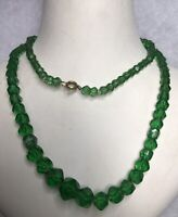 1930s Green Glass Necklace Faceted Art Deco Geometric Beads Beaded Vintage Retro