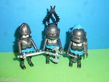 3x schwarze Raubritter Ritter mit Waffen zu Ritterburg 4865 4866 Playmobil 001