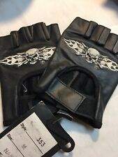 Open Leather Driving Gloves Car, Motorcycle Bikers Genuine Leather Black Med
