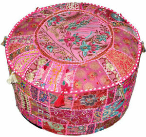 Indian Patchwork Ottoman Vintage Round Foot Stool Cover Handmade Embroidered
