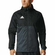Adidas Mens Rain Jacket Tiro 17 Hooded Waterproof Full Zip Black/Grey/White New