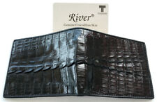 Genuine Real Tail Crocodile Alligator Skin Leather Man Bifold Black Wallet