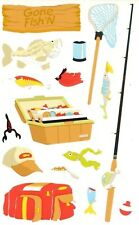 ~ Gone Fishing Net Rod Tackle Box Hat Lures Fish Worms Mrs Grossman Stickers ~