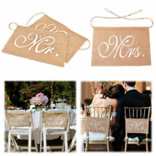 Wedding Hessian Chair Sash Mr Mrs Banner Burlap Vintage Rustic Party Decorations