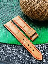 22mm/20mm Brown Genuine Alligator Crocodile Leather Watch Strap Band #T8