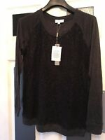 designer Ladies Joseph A grey & Black Lace Detail Long Sleeved Top 8-10 uk small