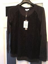 designer Ladies Joseph A grey & Black Lace Detail Long Sleeved Top 10 uk small