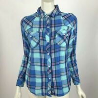 Rails Blue Plaid Shirt Button-Up Long Sleeve Pocket Collared Blouse Top Women XS