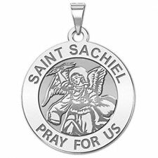Saint Sachiel Religious Medal - 3/4 Inch Size of a Nickel -Sterling Silver