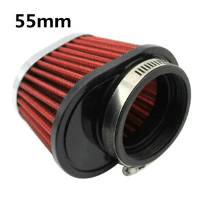 2Pcs 2.15 Inch Red Round Tapered Air Intake Filter Kit For Motorcycle Universal