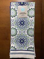 "Martha Stewart Set Of 3 Cotton Kitchen Towels Navy White Gray 18"" X 28"" New"