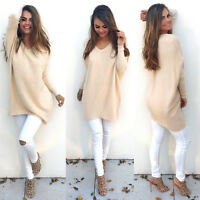 NEW Womens Casual Long Sleeve Knitted V Neck Pullover Loose Sweater Jumper N2009
