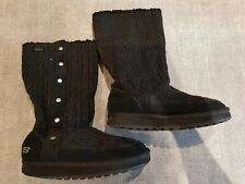 Skechers size 3 (36) black knitted mid calf boots