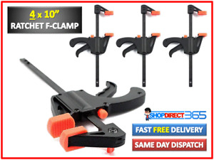 """4 x 10"""" 250mm Wood Working Bar F Clamp Grip Ratchet Quick Release Squeeze (9-17)"""