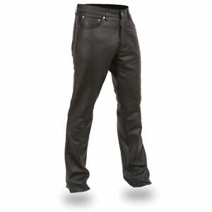Men's Motorcycle Cruiser Leather Racing Black Jean Style Pants