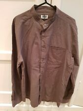 Weekday Mens Draco Shirt Khaki Mandarin Collar Green MEDIUM BNWT