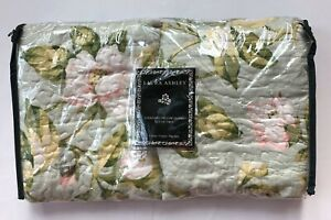 Laura Ashley Green Quilted Standard Pillow Shams Pink Roses Shabby Cottage Chic
