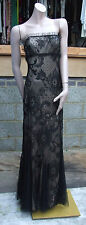Magnificent Mermaid Style Black Lace Over Nude Full Length Evening Dress Gown 12