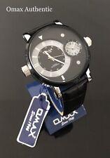 Omax Men's Retro Design Big Dial Time Black Dial Black Leather Strap Watch New